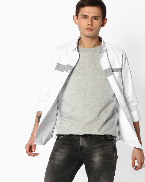 Slim Fit Shirt With Patch Pocket By SPYKAR ( White )