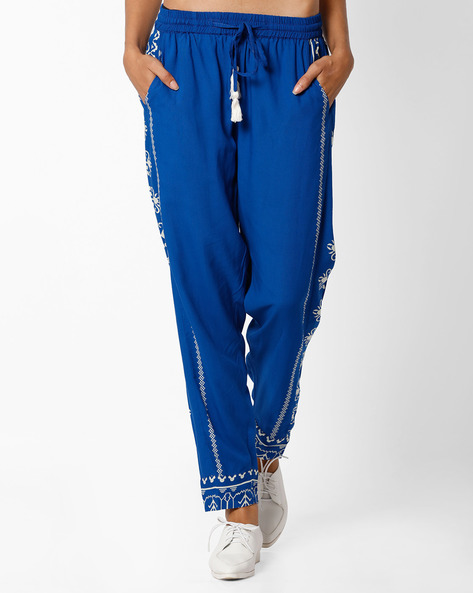 Pants With Drawstring Fastening By Global Desi ( Blue )