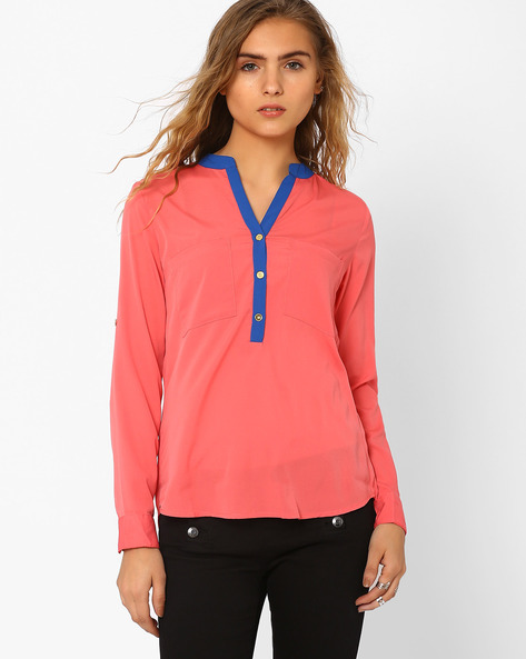 Shirt With Roll-Up Sleeves By CHM ( Pink )