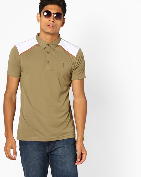 Polo T-shirt With Contrast Panels By BLOTCH ( Khaki )