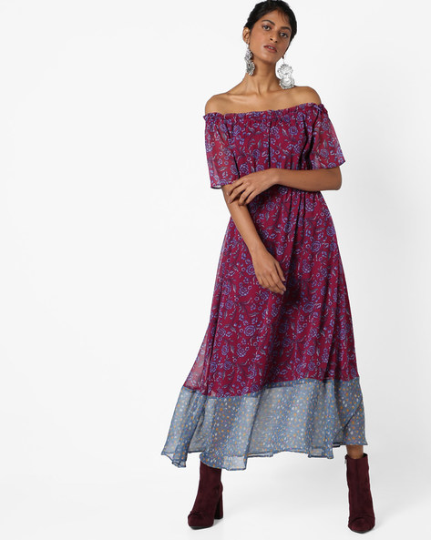 Floral Print Maxi Dress With Bardot Neckline By AJIO ( Maroon )