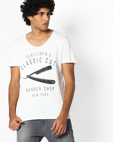 Graphic Print T-shirt By SELECTED ( Offwhite ) - 460067117005
