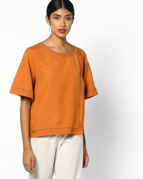 Overlapped-Front Top With Bell Sleeves By AJIO ( Rust )