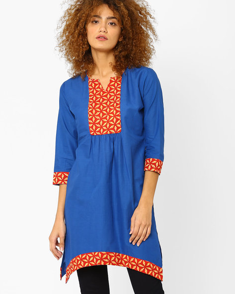 Straight Kurta With Printed Panels By AJIO ( Blue )