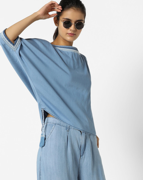 Embroidered Denim Top By AJIO ( Lightblue )