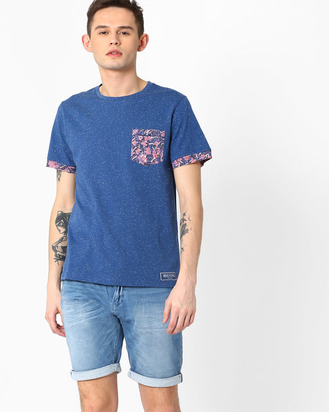 Slim Fit T-shirt With Printed Patch Pocket By Atorse ( Multi )