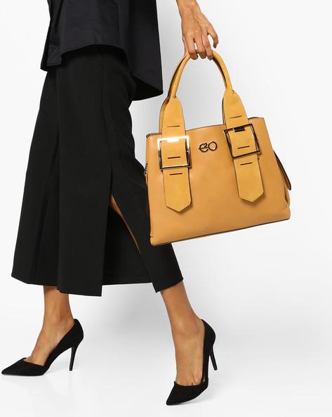Satchel Bag With Buckle Embellished Handles By E2O ( Beige )