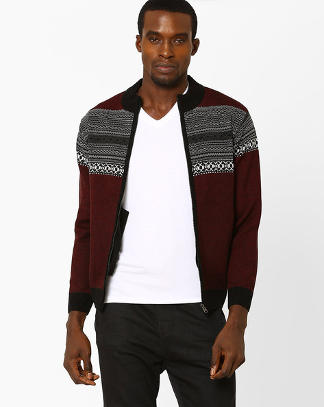 Zip-Front Cardigan With Pockets By DUKE ( Black )