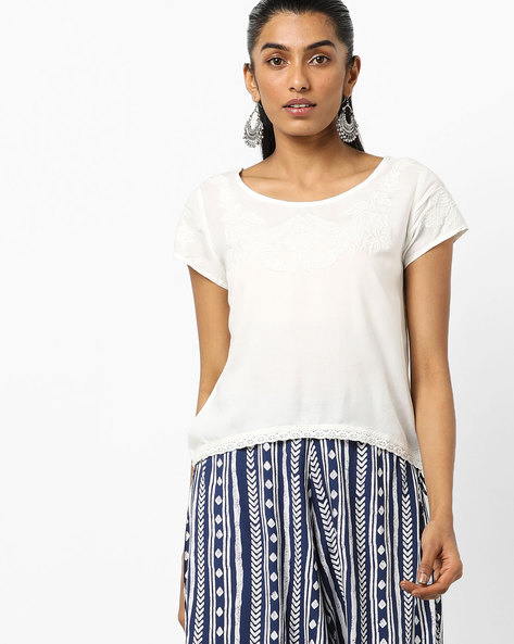Embroidered Top With Lace-Trimmed Hem By COLOUR ME ( Offwhite )