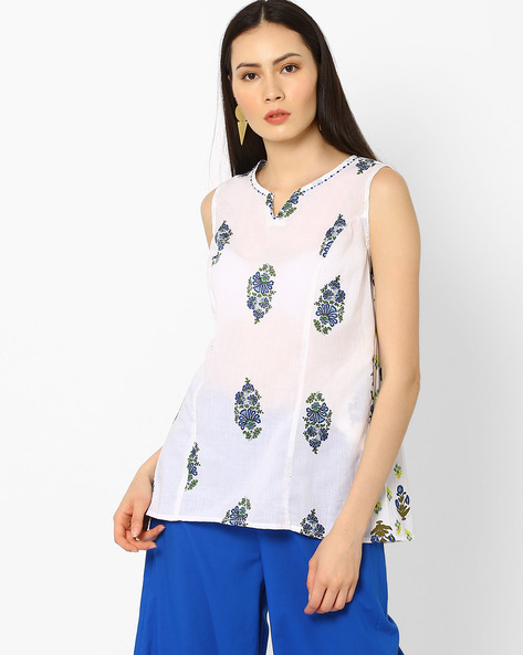 Floral Print Top By AJIO ( Blue )