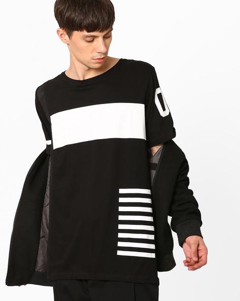 Slim Fit Longline T-shirt By ADAMO LONDON ( Black )