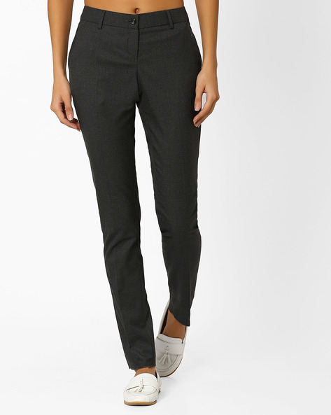 Flat-Front Trousers With Slant Pockets By Annabelle By Pantaloons ( Charcoal )