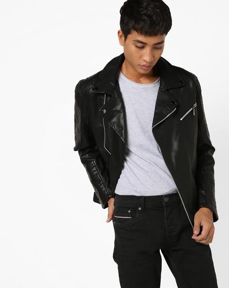 Panelled Slim Fit Biker Jacket By The Indian Garage Co ( Black )