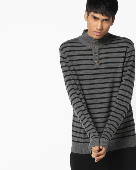 Striped Sweater With Ribbed Neckline By FLYING MACHINE ( Assorted )