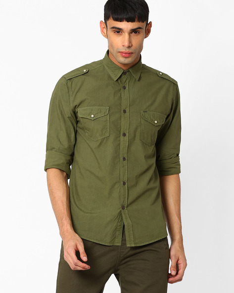 Buy Pepe Jeans Men Olive Green Regular Fit Shirt with Flap Pockets ...