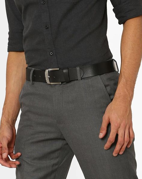 Leatherette Belt With Buckle Closure By LEVIS ( Black )