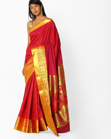 Woven Saree With Contrast Zari Border By SHRIKALA ( Pink )