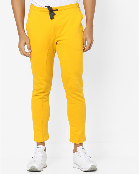 Pure Cotton Track Pants With Drawstring Waist By UNITED COLORS OF BENETTON ( Gold )