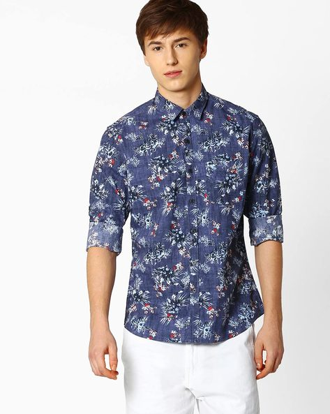 Floral Print Shirt With Curved Hem By NETPLAY ( Blue )
