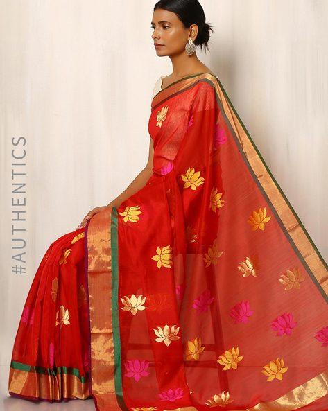 Handwoven Pure Silk Cotton Chanderi Saree By Indie Picks ( Red )