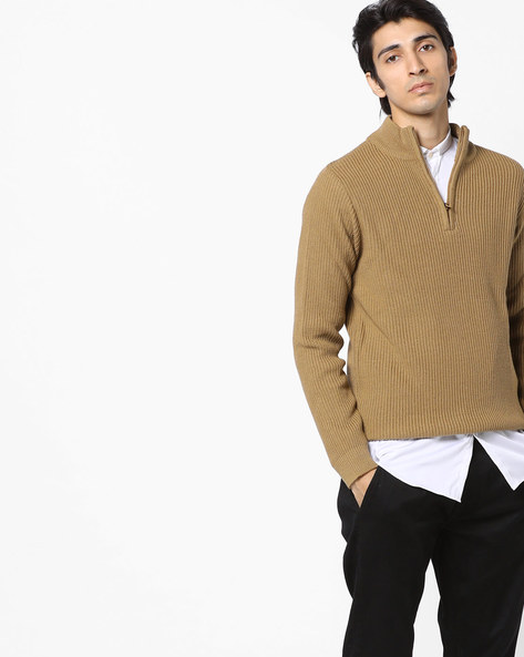 Knitted Pullover With Ribbed Sleeve Hems By AJIO ( Khaki )