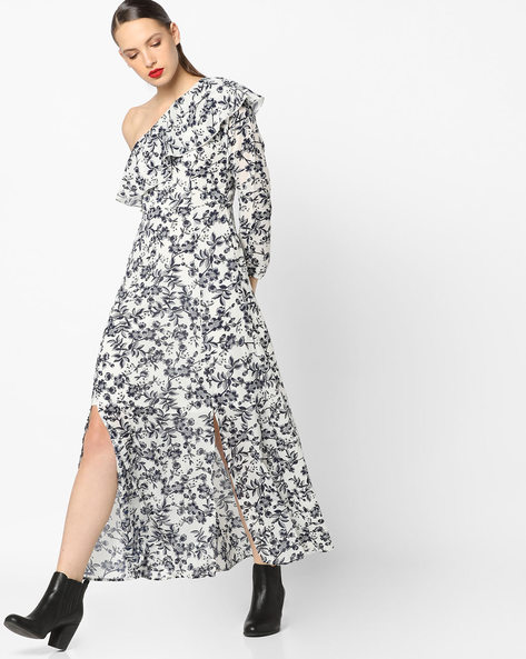 Floral Print One-Sleeve Empire Dress By Sassafras ( White )
