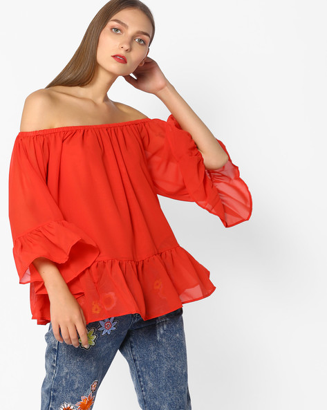 Off-Shoulder Top With Bell Sleeves By Rena Love ( Red )