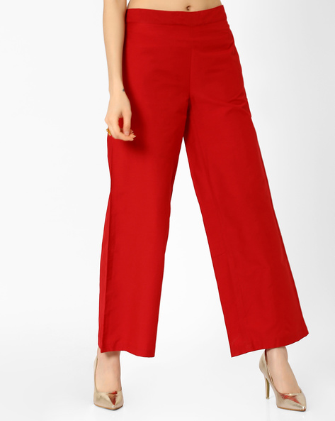 Palazzo Pants With Elasticated Waistband By AJIO ( Red )
