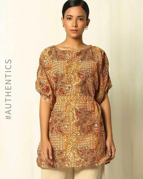 Handblock Print Kalamkari Cotton Tunic With Kaftan Sleeves By Indie Picks ( Rust )