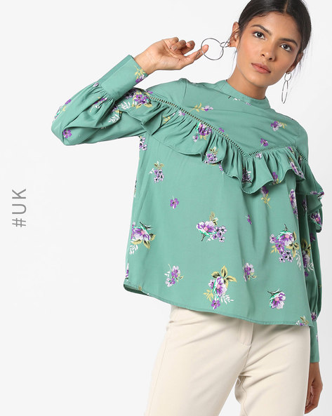 Floral Print Top With Ruffled Panel By INFLUENCE ( Green )