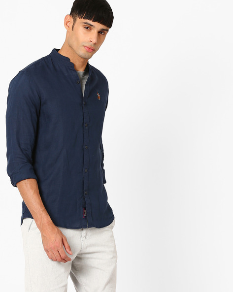 Shirt With Mandarin Collar By US POLO ( Navy )
