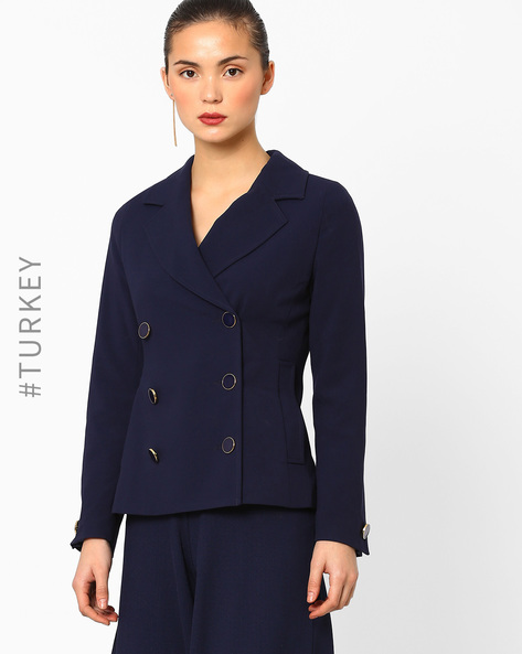 Double-Breasted Blazer With Notched Lapel By Closet London ( Navyblue )