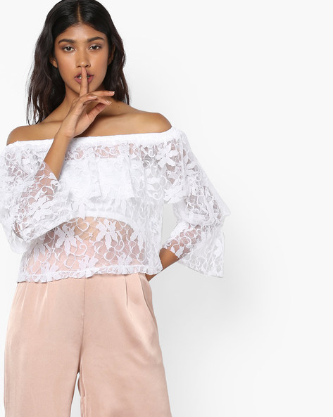 Lace Off-Shoulder Top By AJIO ( Offwhite )