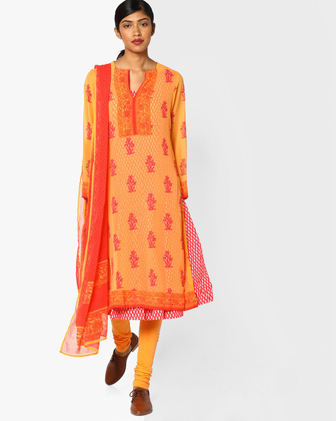 Printed Churidar Kurta With Dupatta By Biba ( Orange )