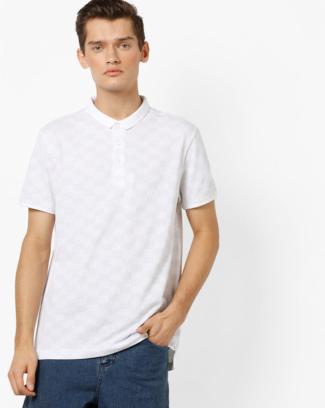 Printed Polo T-shirt By LEVIS ( White )