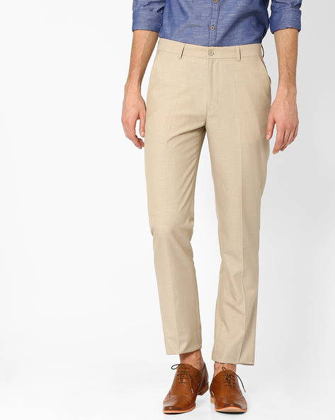 Linen Smart Casual Straight Fit Trousers By NETWORK ( Beige )
