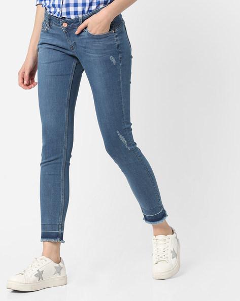 Lightly Distressed Slim Fit Jeans By Lee ( Blue )