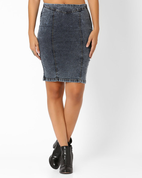 Denim Pencil Skirt By AJIO ( Lightblue )
