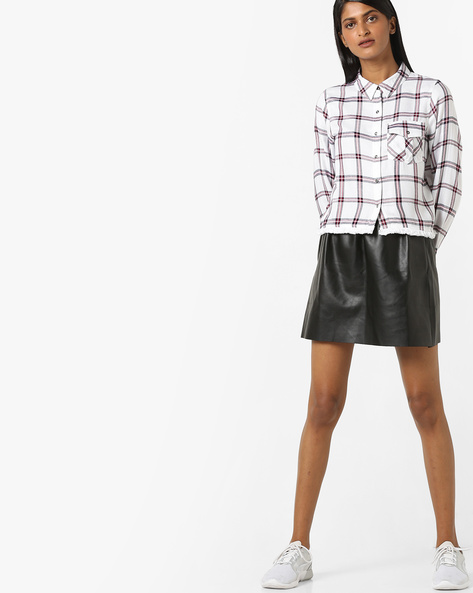 Checked Shirt With Frayed Hems By DNMX ( White )