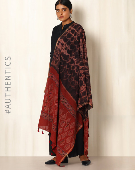 Ajrak Handblock Print Shibori Cotton Dupatta By Indie Picks ( Multi )