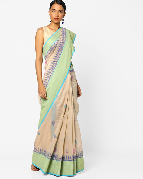 Printed Saree With Contrast Border By Era ( Beige )