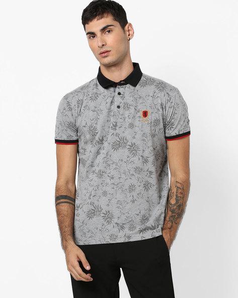 Tropical Print Polo T-shirt By DUKE ( Greymelange )