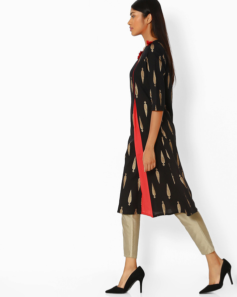 Block Print Kurta With Tassels By FUSION ( Black )
