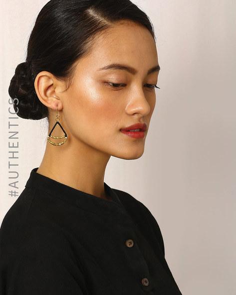 Handcrafted Dhokra Brass Dangler Earrings By Indie Picks ( Multi )