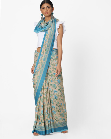 Floral Print Saree With Contrast Border By Majestic Silk ( Beige )