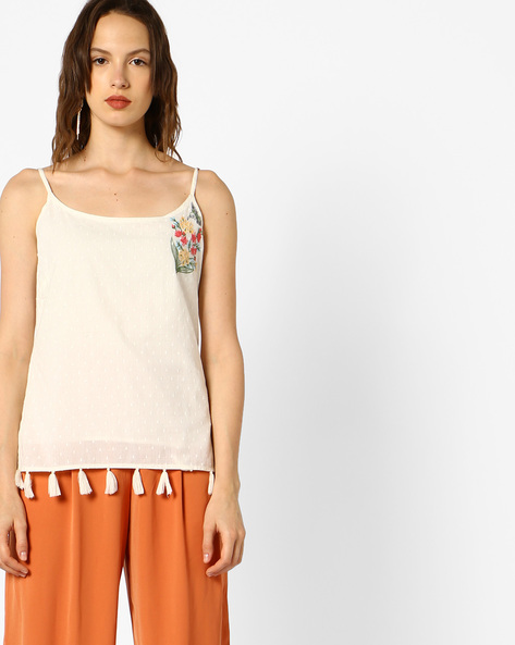 Strappy Top With Tassels By AJIO ( Offwhite )
