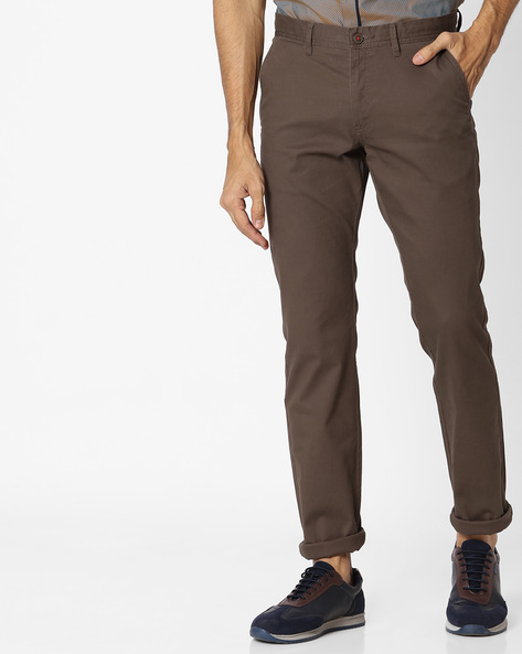Tapered Fit Flat-Front Chinos By NETPLAY ( Olive )