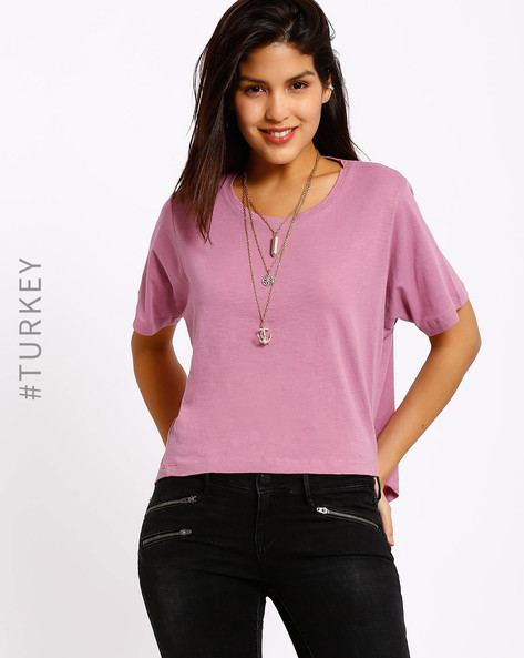 Cotton T-shirt With High-Low Hem By Cross Jeans ( Mauve )