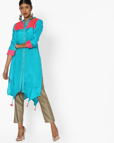High-Low Tunic With Contrast Yoke By Indian Ink ( Turquoise )