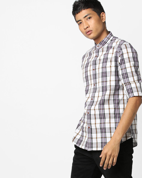 Checked Shirt With Button-Down Collar By AJIO ( Blue ) - 460120289001